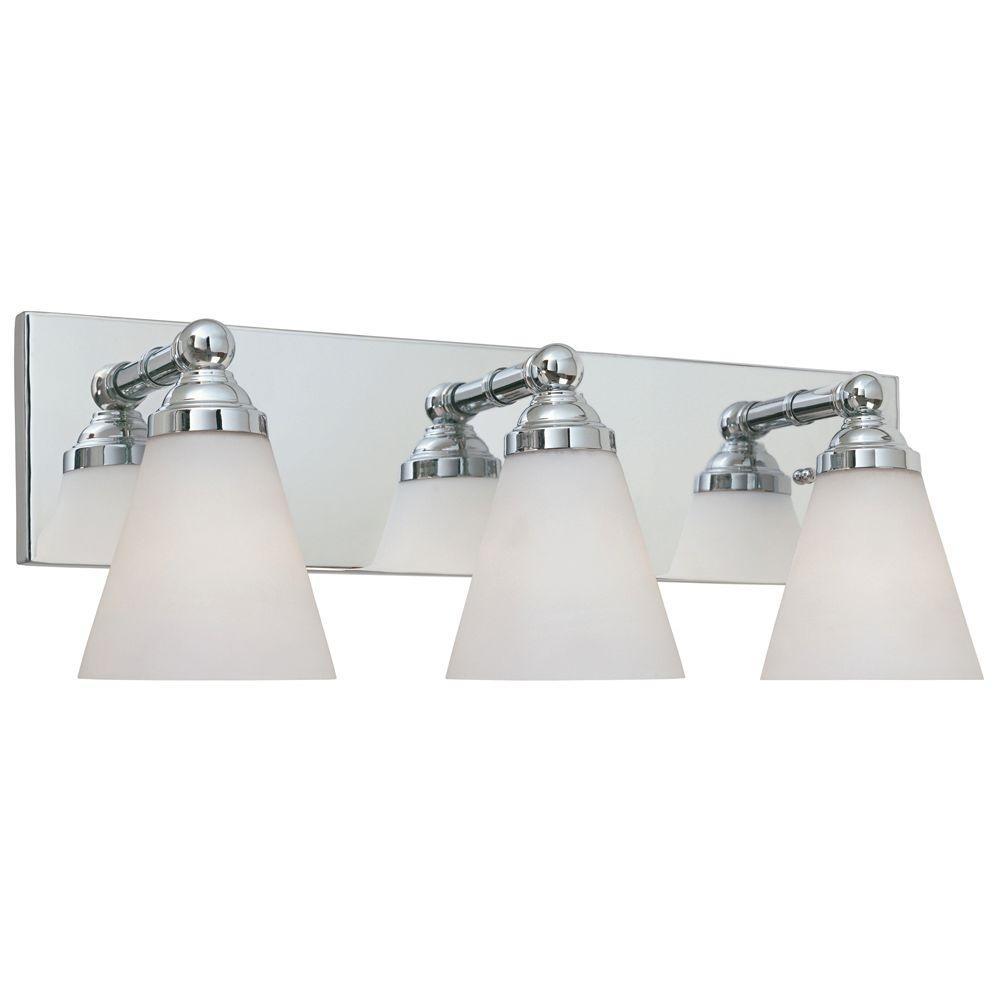 Hudson 3-Light Chrome Wall Mount Vanity Light