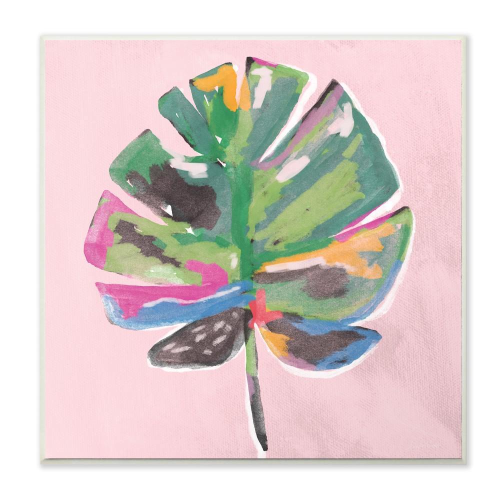 "12 in. x 12 in."" Painted Palm Leaf Pink"" by Linda Woods Printed Wood Wall Art"