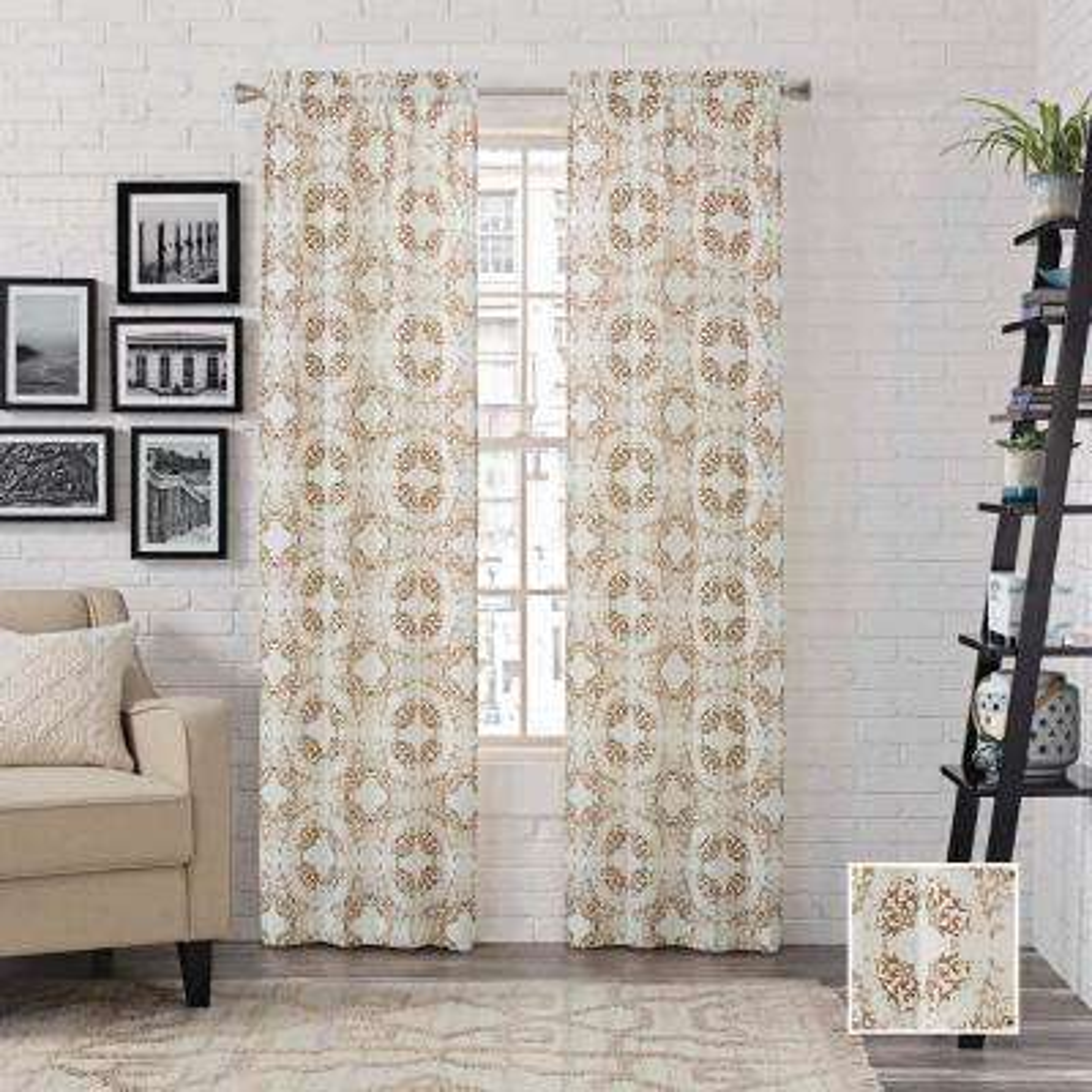 Aldrich 2-Pack Window Curtain Panels in Toffee - 56 in. W x 95 in. L
