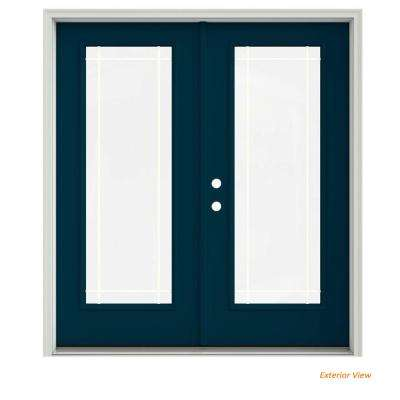 72 in. x 80 in. Revival Blue Painted Steel Right-Hand Inswing 9 Lite Glass Stationary/Active Patio Door