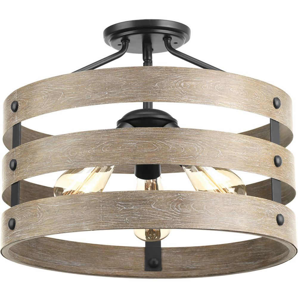 ProgressLighting Progress Lighting Gulliver 17 in. 3-Light Graphite Hallway Semi-Flush Mount with Weathered Gray Wood Accents