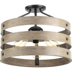 Gulliver 17 in. 3-Light Graphite Hallway Semi-Flush Mount with Weathered Gray Wood Accents
