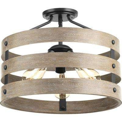 Gulliver 17 in. 3-Light Graphite Semi-Flush Mount with Weathered Gray Wood Accents