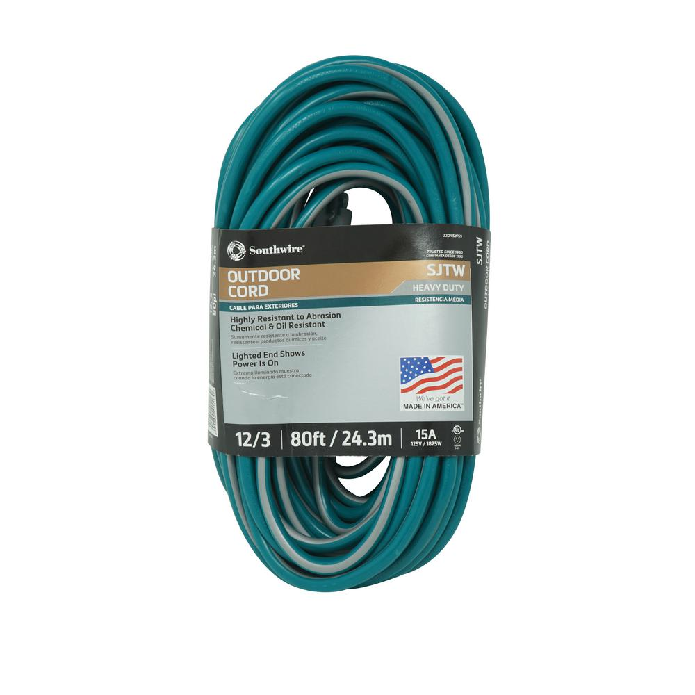 Southwire 80 Ft 12 3 Sjtw Multi Color Outdoor Heavy Duty Extension Wiring Power Plugs Colors