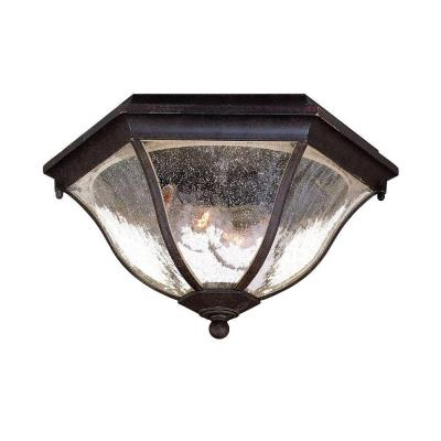 Flushmount Collection Ceiling-Mount 2-Light Black Coral Outdoor Light Fixture