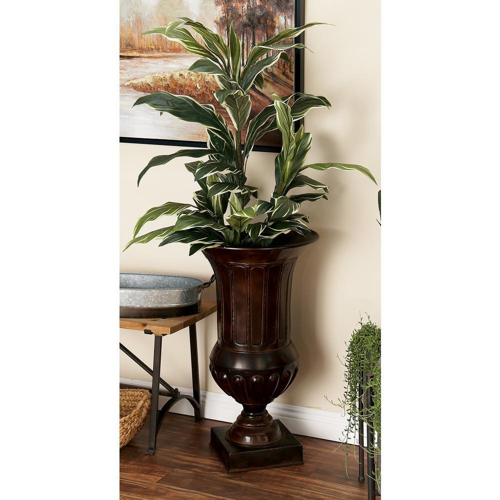 Bronze Iron Metal Footed Urn Planter Decorative Vases (Set of 2)