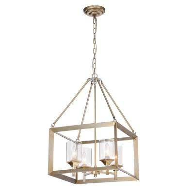 Tamara 4-Light Antique Silver Pendant with Clear Shade