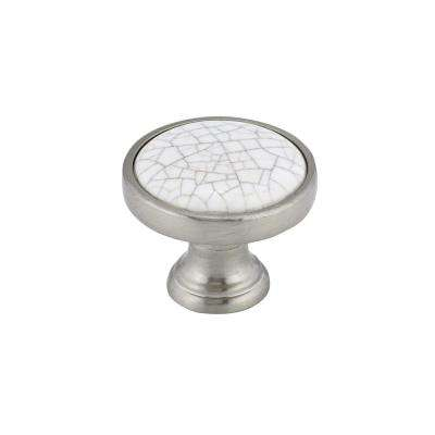 Eclectic 1-1/4 in. (31.8 mm) Crackle White Brushed nickel Round Cabinet Knob