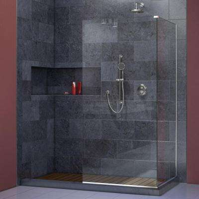 Linea Two 30 in. x 72 in. Semi-Framed Glass Panels in Chrome