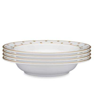 Moonbeam 4-Piece Gold Melamine 10.5 in. Dots Pasta Bowl Set