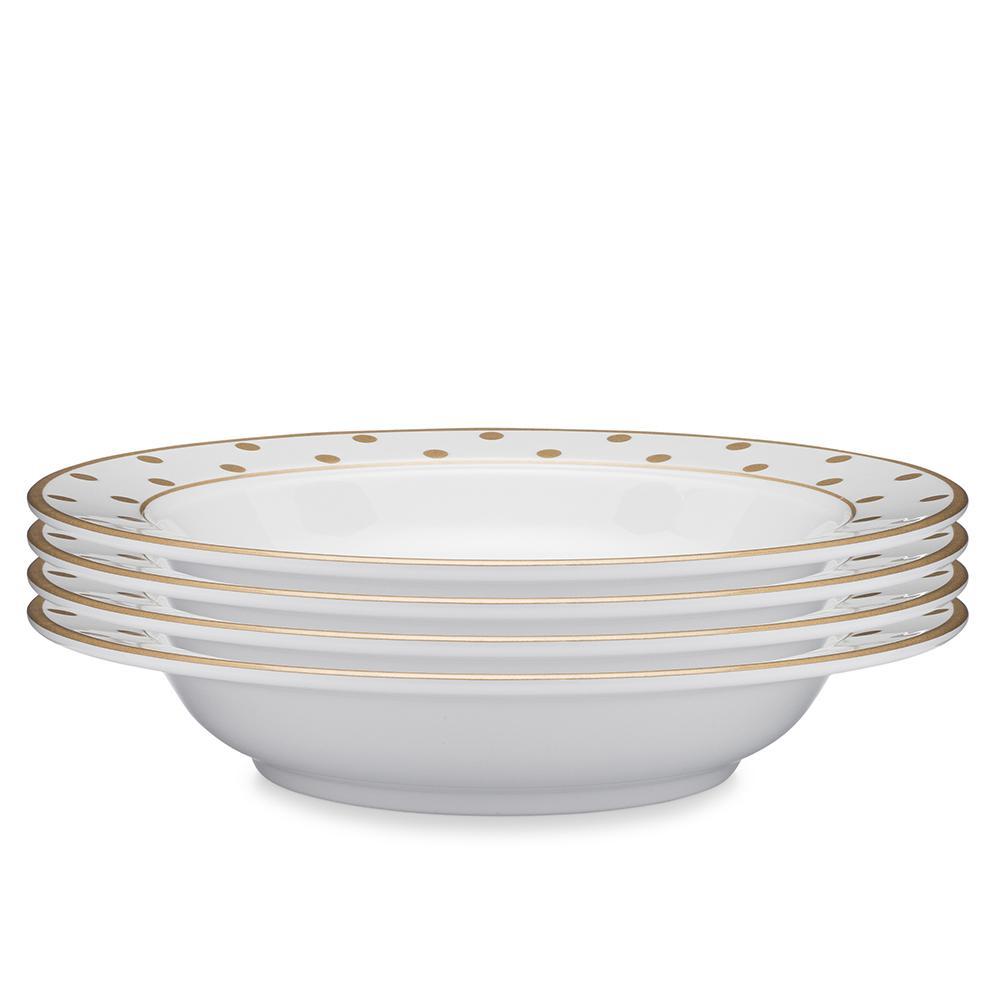 Moonbeam 4-Piece Gold Melamine 10.5 in. Dots Pasta Bowl Set