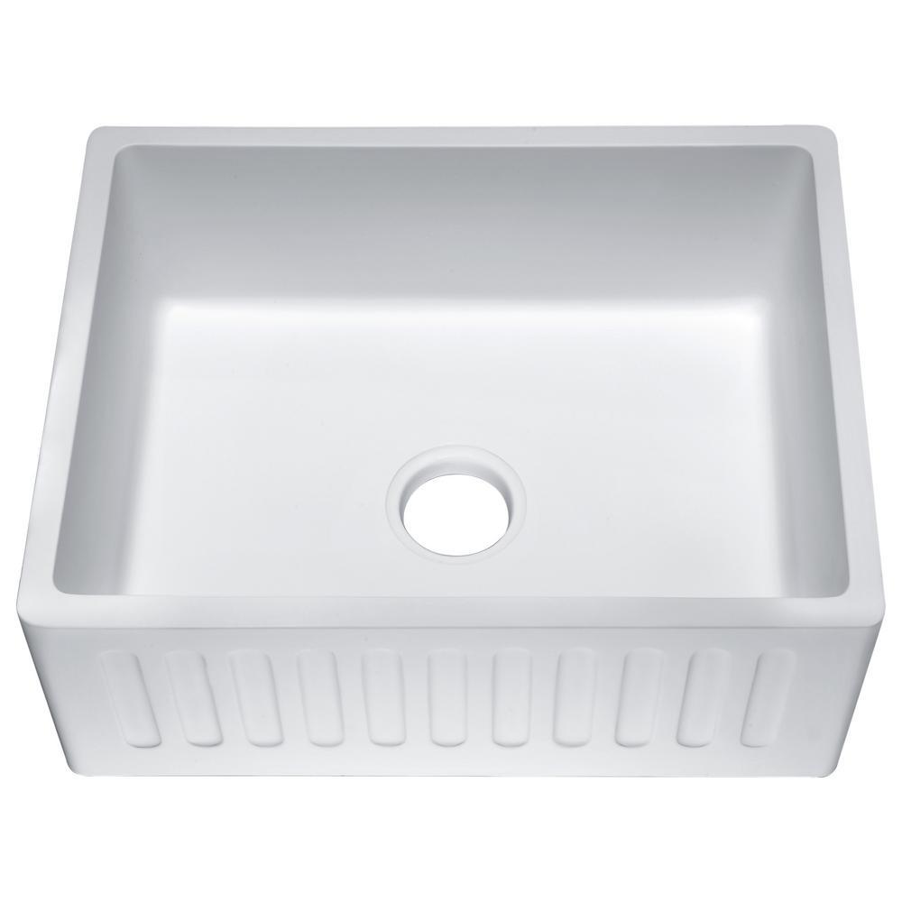 Roine Farmhouse Engineered Stone 24 in. Single Bowl Kitchen Sink in Matte White