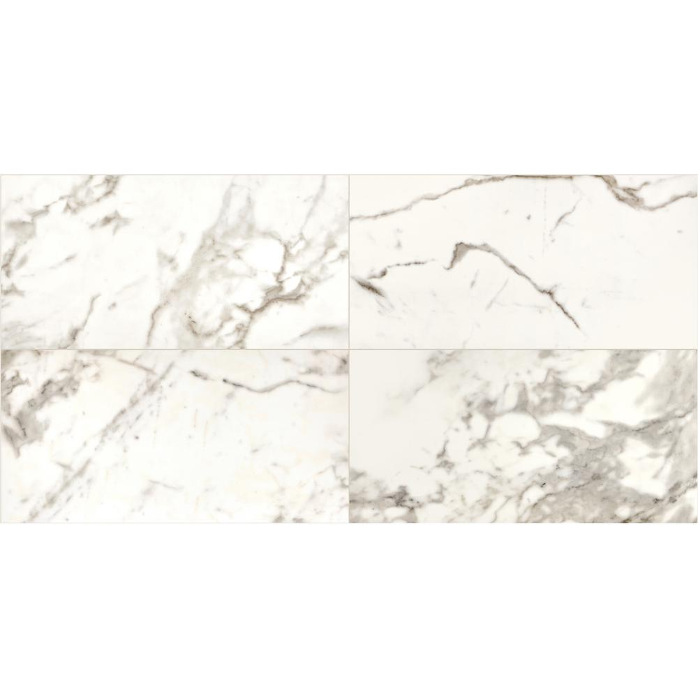 Daltile Marble View Calacatta Polished 24 In X 48 Color Body Porcelain Floor