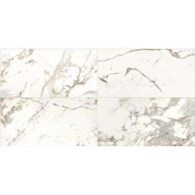 Marble View Calacatta Polished 24 in. x 48 in. Color Body Porcelain Floor and Wall Tile (15.26 sq. ft. / case)