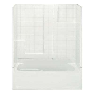 Remodeline Smooth Tile 60 in. x 30 in. x 72 in. 3-Piece Bath and Shower Kit with Left Drain in Biscuit