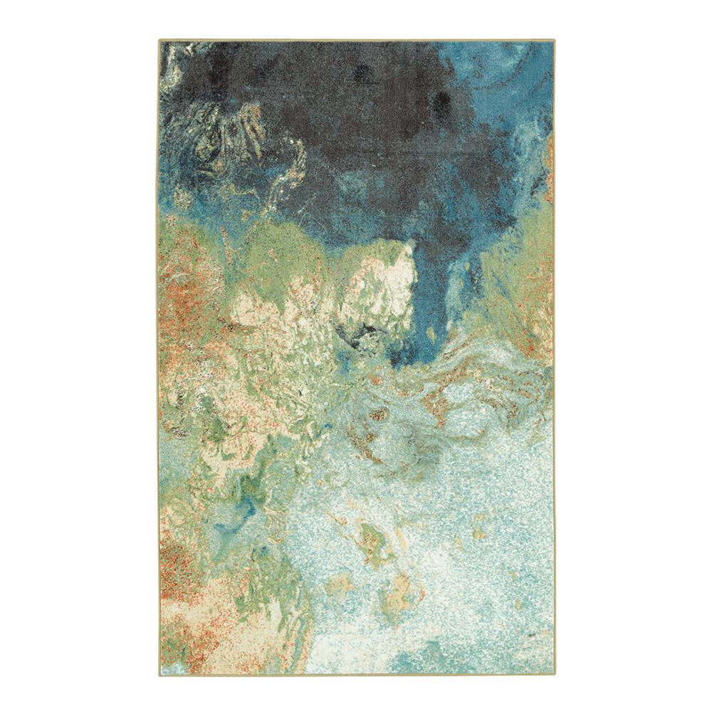 MOHAWKHOME MOHAWK HOME Bazaar Marbleized Blue 7 ft. 6 in. x 10 ft. Area Rug