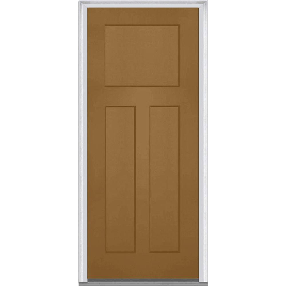 Mmi door 32 in x 80 in left hand inswing craftsman 3 for Prehung exterior doors with storm door