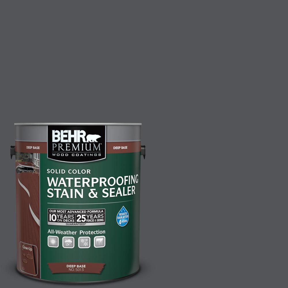 BEHR Premium 1 gal. #N510-6 Orion Gray Solid Color Waterproofing Exterior Wood Stain and Sealer