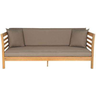 Malibu Teak Brown Patio Day Bed with Taupe Cushions