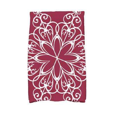 16 in. x 25 in. Cranberry Snowflake Holiday Geometric Print Kitchen Towel