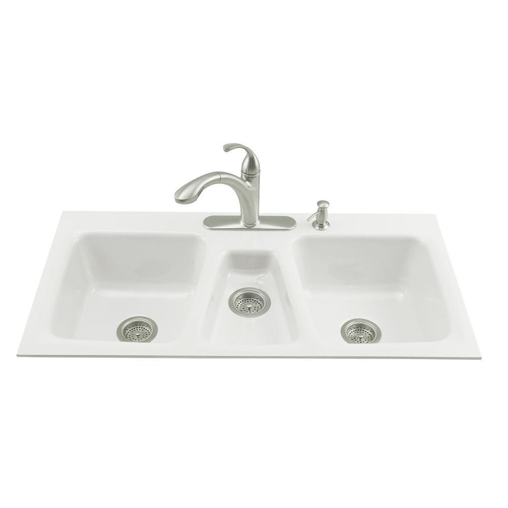 KOHLER Trieste Tile-In Cast Iron 43x22x8.625 4-Hole Triple Bowl Kitchen Sink in White