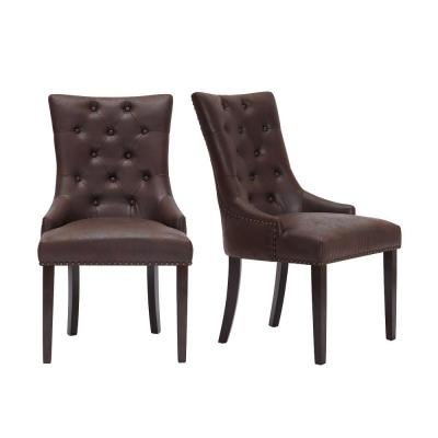 Bardell Upholstered Tufted Dining Chair with Brown Faux Leather Seat and Nailheads (Set of 2) (22 in. W x 38 in. H)