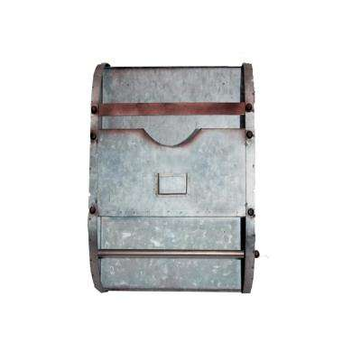 Gray Galvanized Metal Magazine Holder with Bar Rod