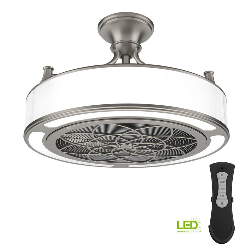 Stile Anderson 22 in. LED Indoor/Outdoor Brushed Nickel Ceiling Fan with  Remote Control