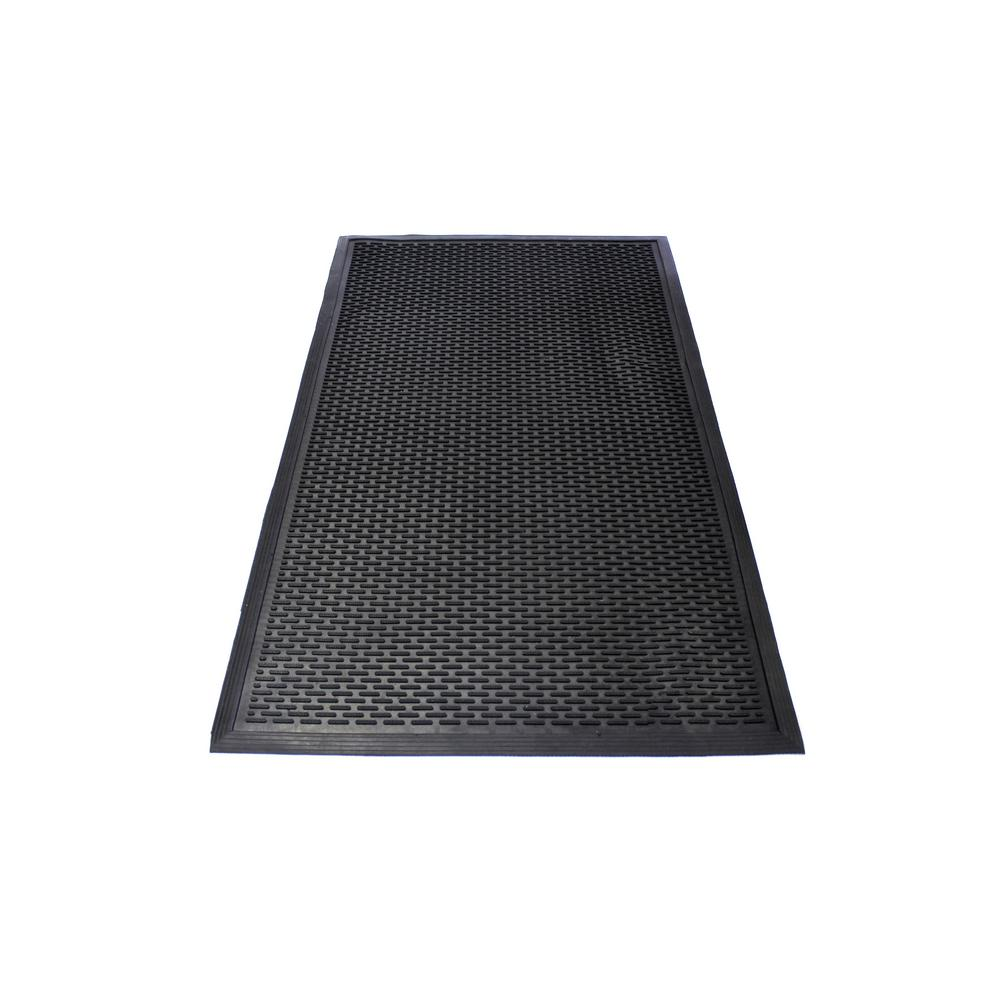 Interlock Rubber Tile Mat Durable Anti Fatigue 20.75 in. x 20.75
