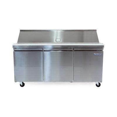 70 in. W 15.5 cu. ft. 3-Door Mega Top Sandwich-Salad Prep Table Stainless Steel