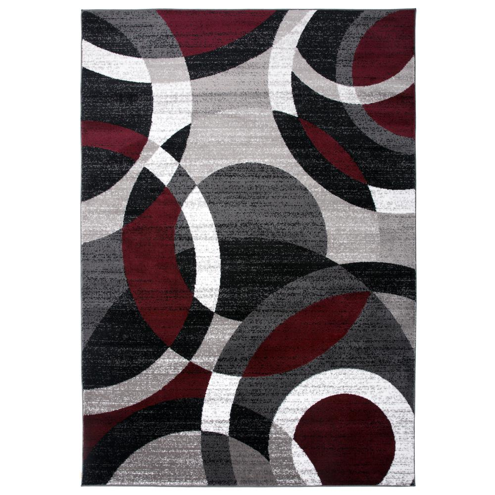 Contemporary Modern Circles Abstract Red Indoor Area Rug