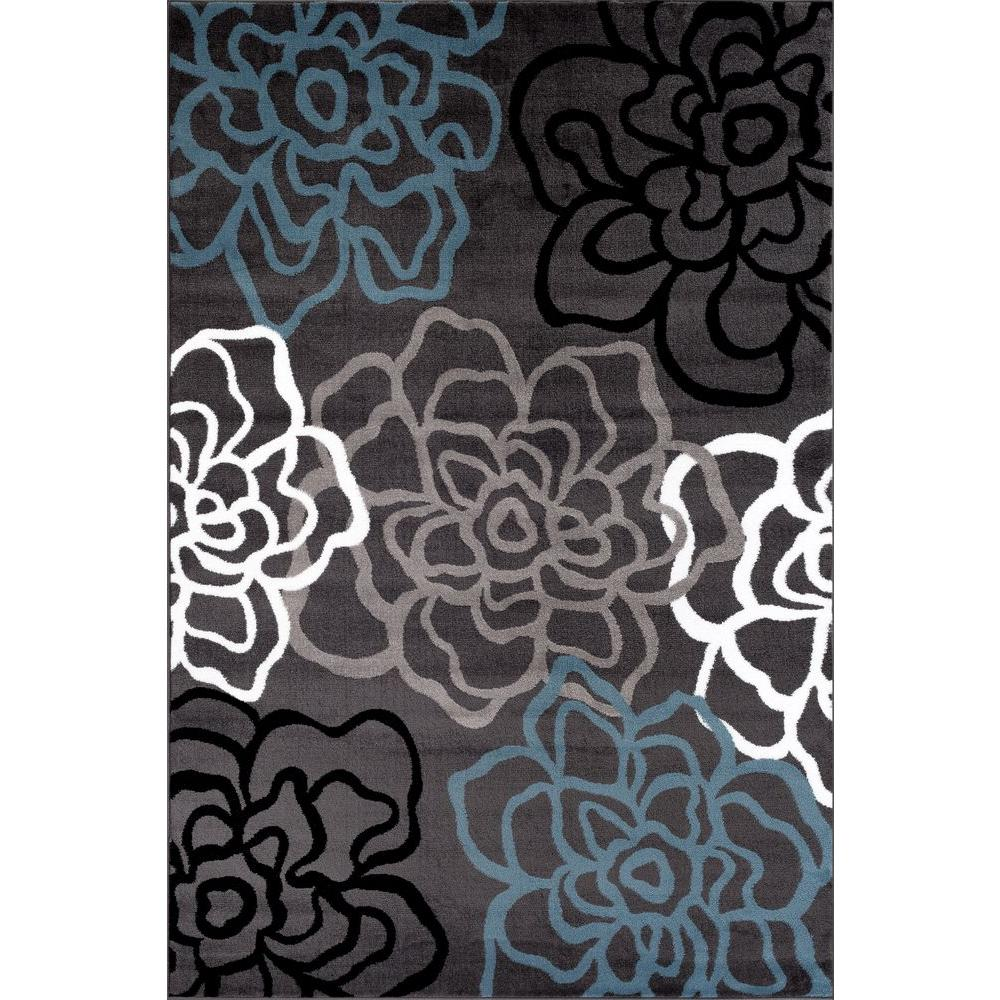 World Rug Gallery Contemporary Modern Floral Flowers Gray