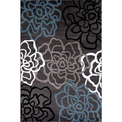 Contemporary Modern Floral Flowers Gray 9 ft. x 12 ft. Area Rug