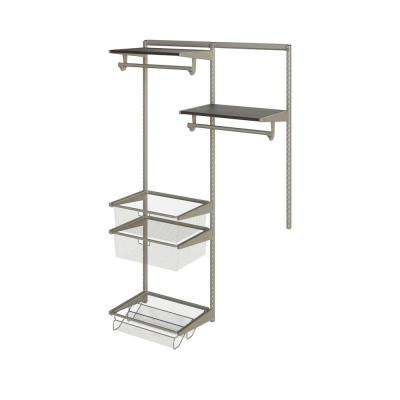 Closet Culture 16 in. D x 48 in. W x 78 in. H  with 2 Espresso Wood Shelves Steel Closet System