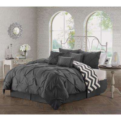 Ella 7-Piece Charcoal King Comforter Set