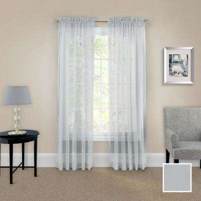 Victoria Voile 84 in. L Polyester Rod Pocket Drapery Panel Pair in Grey