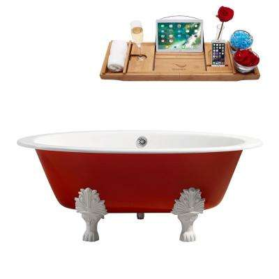 65 in. Cast Iron Clawfoot Non-Whirlpool Bathtub in Red