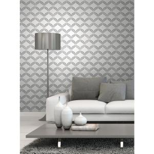 56.4 sq. ft. Wentworth Geo Grey Ogee Wallpaper by
