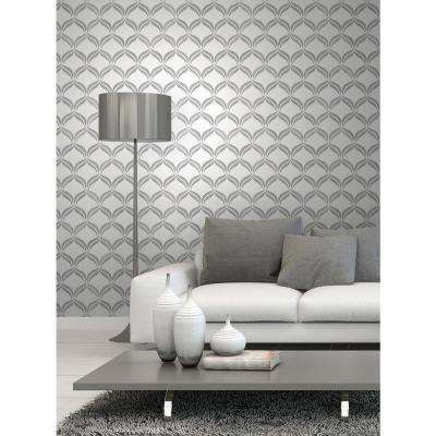 56.4 sq. ft. Wentworth Geo Grey Ogee Wallpaper
