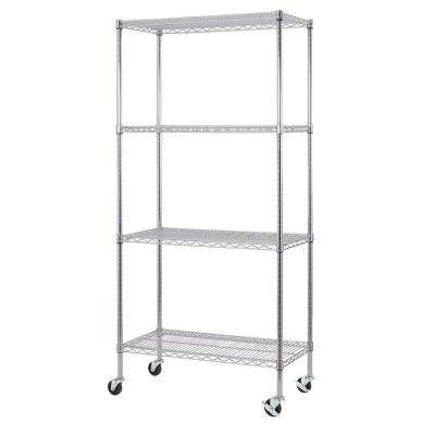 77 in. H x 36 in. W x 18 in. D 4-Tier Wire Shelving Unit with Casters, Chrome