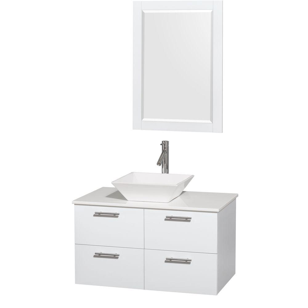 Amare 36 in. Vanity in Glossy White with Solid-Surface Vanity Top