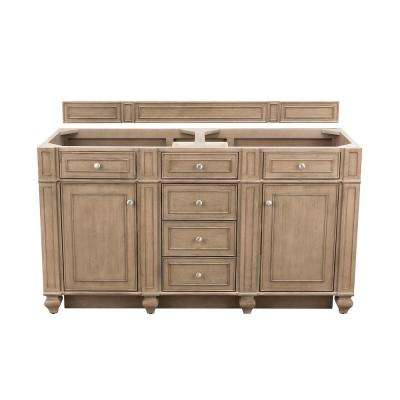 Bristol 60 in. W Bathroom Double Vanity Cabinet Only in Whitewashed Walnut