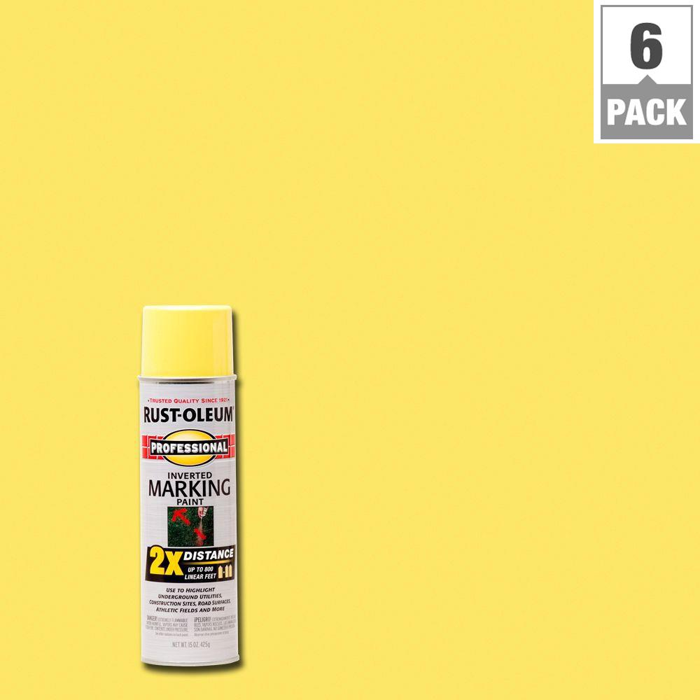 Rust-Oleum Professional 15 oz. 2X High Visibility Yellow Marking Spray Paint (6-Pack)