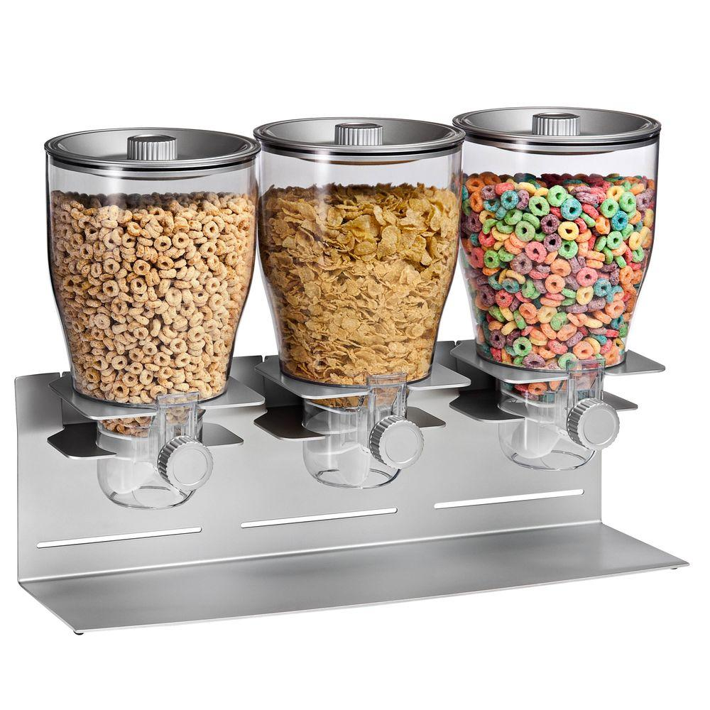 Honey Can Do Commercial Plus Triple Canister Dispenser in Silver KCH