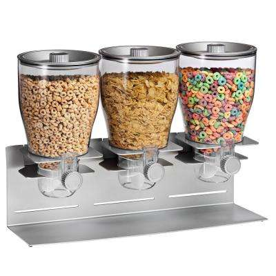 Triple Canister Dry Food Cereal Dispenser, Stainless Steel