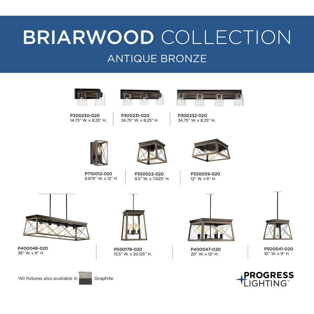 Progress Lighting P350022-020 Briarwood Antique Bronze One-Light Flush Mount