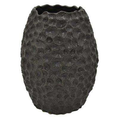 14 in. Black Ceramic Vase