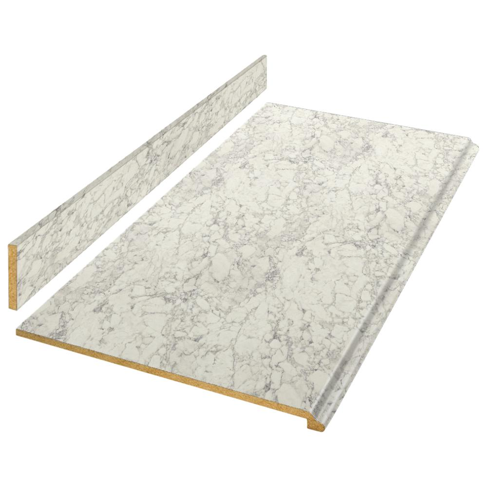 Hampton Bay 8 ft. Laminate Countertop Kit in Marmo Bianco Marble with Valencia Edge