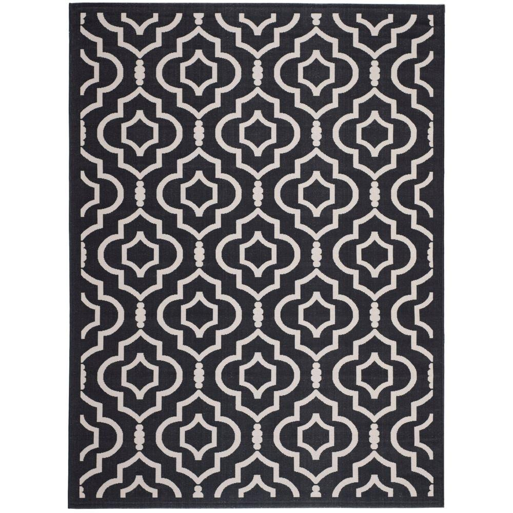 Safavieh Courtyard Black/Beige 5 ft. 3 in. x 7 ft. 7 in. Indoor/Outdoor Area Rug