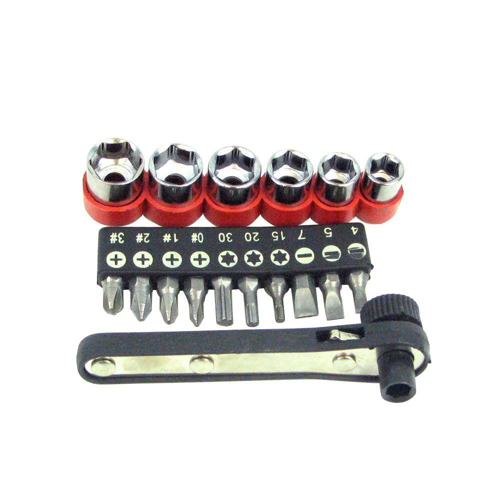Stalwart Deluxe Mini-Ratchet Screwdriver Socket Set (17-Piece)